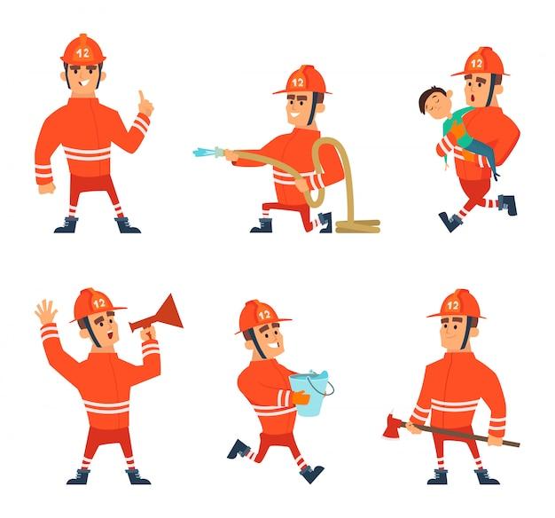 Personagens de desenhos animados de bombeiros em poses de ação
