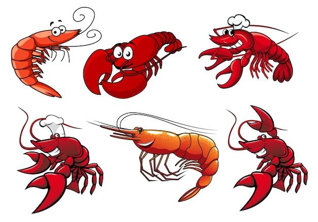Personagens de desenhos animados de camarão vermelho, caranguejo e lagosta com rostos sorridentes e olhos arregalados isolados no branco para frutos do mar ou outro design