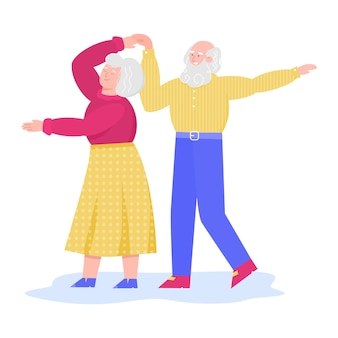Personagens de desenhos animados de casal dançando sênior