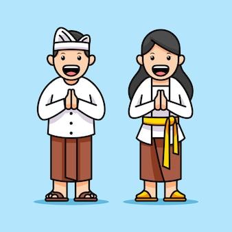 Personagens de desenhos animados de crianças asiáticas