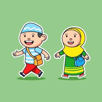Personagens de desenhos animados de crianças muçulmanas