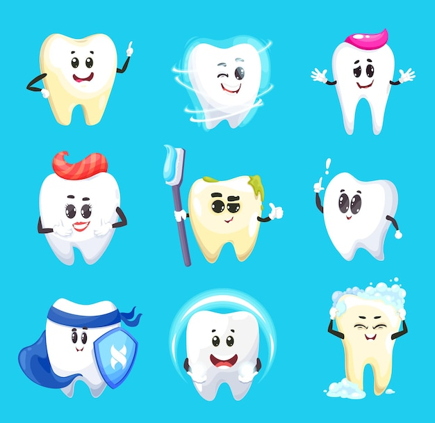Personagens de desenhos animados de dente de design de higiene dental