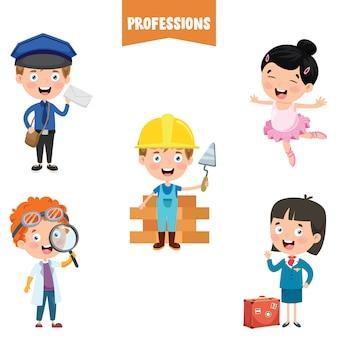 Personagens de desenhos animados de diferentes profissões