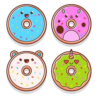 Personagens de desenhos animados de donuts fofos definidos isolados em um fundo branco