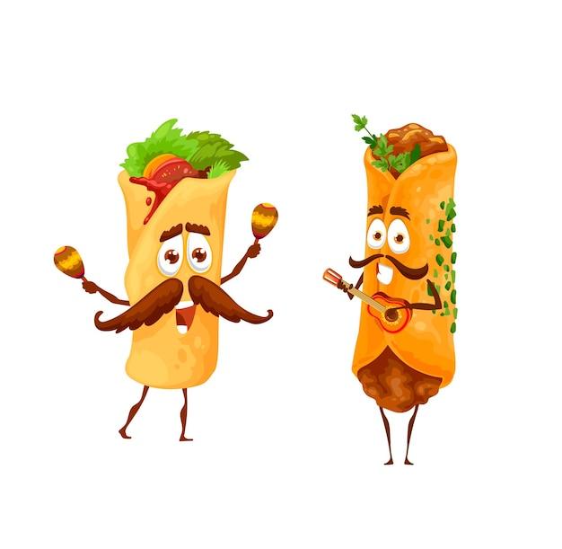 Personagens de desenhos animados de enchiladas e burritos mexicanos