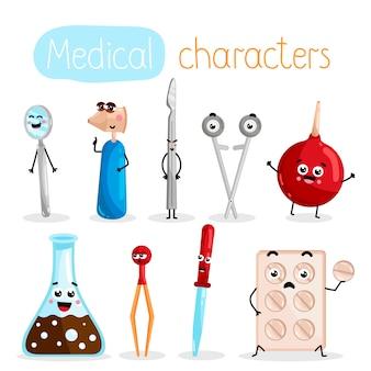 Personagens de desenhos animados de equipamento de medicina engraçada