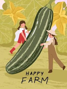 Personagens de desenhos animados de fazendeiros com colheita de abobrinha em ilustrações de cartazes de fazenda