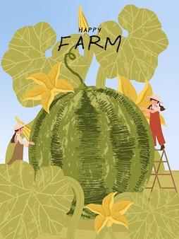 Personagens de desenhos animados de fazendeiros com colheita de melancia em ilustrações de cartazes de fazenda