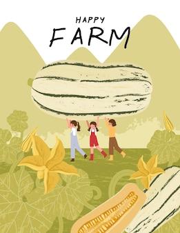 Personagens de desenhos animados de fazendeiros com delicata colheita de abóbora em ilustrações de cartazes de fazenda