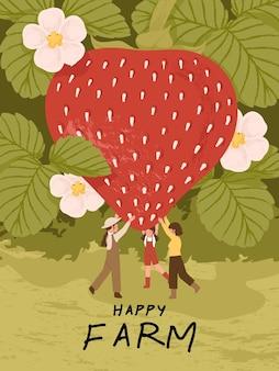 Personagens de desenhos animados de fazendeiros com frutas morango em ilustrações de cartaz de fazenda