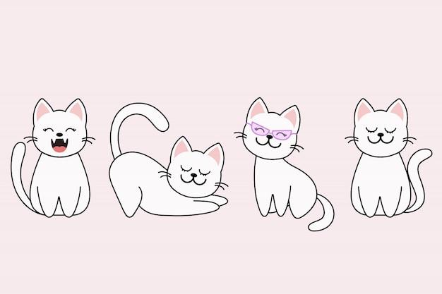 Personagens de desenhos animados de gatos em diferentes poses