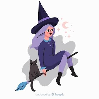 Personagens de desenhos animados de halloween bruxa e gato
