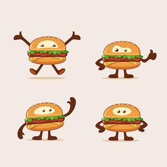 Personagens de desenhos animados de hambúrguer pulando acenando em pé e aparece o polegar