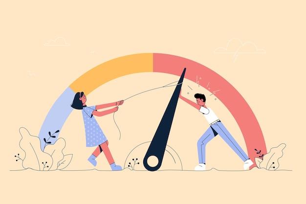 Personagens de desenhos animados de homens e mulheres tentando aumentar o nível de estresse para reduzir a sensação de cansaço e exaustão com a ilustração do trabalho