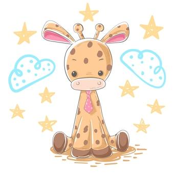 Personagens de desenhos animados de ilustração de girafa dos desenhos animados