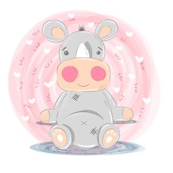 Personagens de desenhos animados de ilustração de rinoceronte bonito