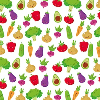 Personagens de desenhos animados de legumes fofos .vector