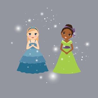 Personagens de desenhos animados de linda princesa