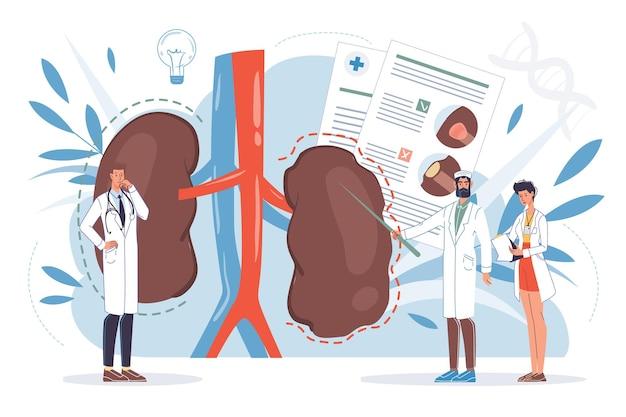 Personagens de desenhos animados de médico plano no trabalho e conceito de terapia