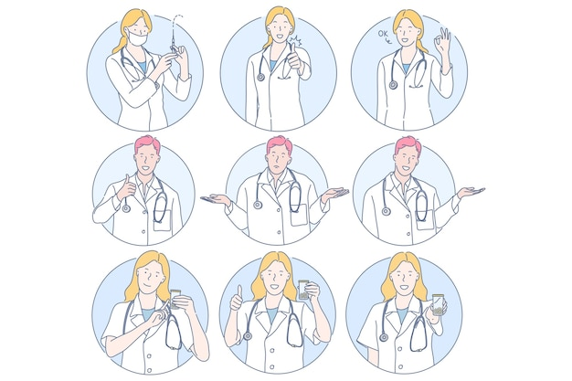 Personagens de desenhos animados de médicos jovens com sinais diferentes