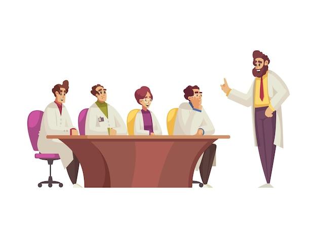 Personagens de desenhos animados de médicos ouvindo discursos em conferências médicas
