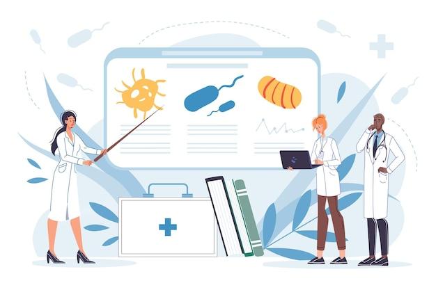 Personagens de desenhos animados de médicos planas trabalhando de uniforme