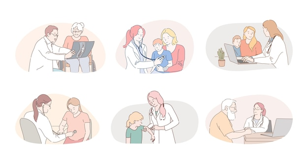 Personagens de desenhos animados de médicos profissionais terapeutas e pediatras