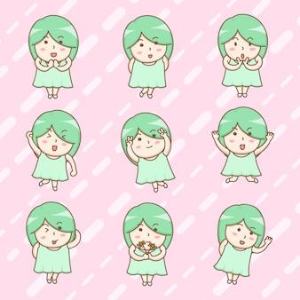 Personagens de desenhos animados de menina feliz fofo em vestidos de verão