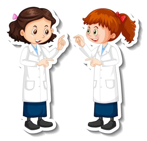 Personagens de desenhos animados de meninas cientistas com objeto de experimento científico