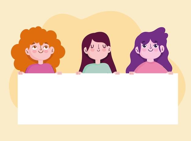 Personagens de desenhos animados de mulheres jovens com ilustração de banner em branco