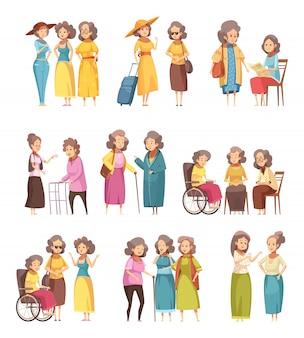 Personagens de desenhos animados de mulheres sênior
