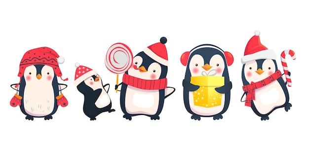 Personagens de desenhos animados de natal de pinguins