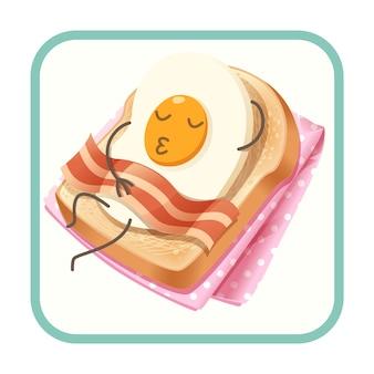Personagens de desenhos animados de ovo frito e bacon está dormindo no brinde