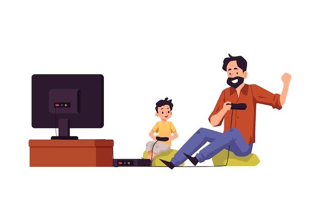 Personagens de desenhos animados de pai e filho jogando videogame