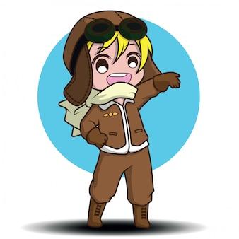 Personagens de desenhos animados de piloto bonito