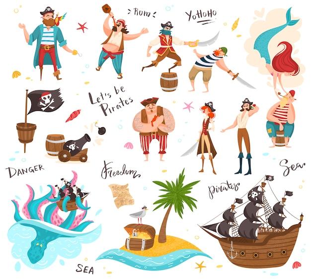 Personagens de desenhos animados de piratas, conjunto de pessoas engraçadas e ícones, ilustração