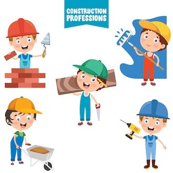 Personagens de desenhos animados de profissões de construção
