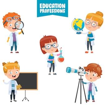 Personagens de desenhos animados de profissões de educação