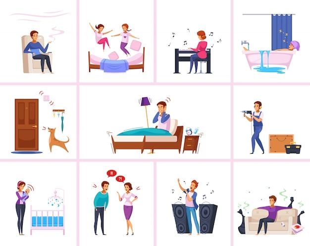 Personagens de desenhos animados de relações de vizinhos