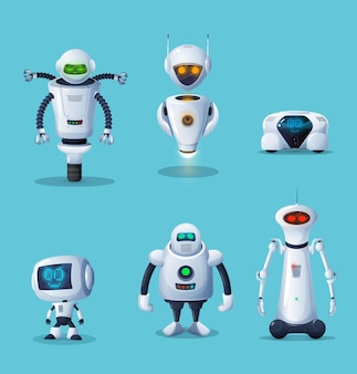 Personagens de desenhos animados de robôs e máquinas de ia