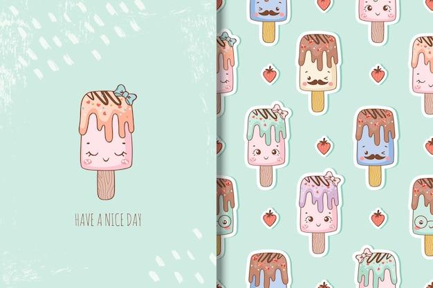Personagens de desenhos animados de sorvete fofos cartão e padrões sem emenda para crianças nos dias de verão