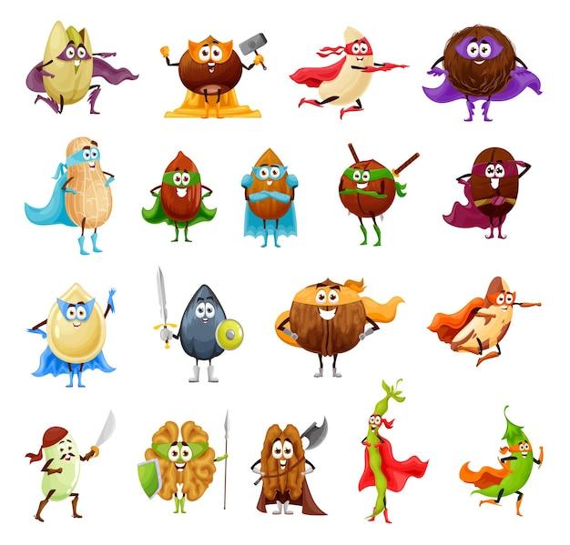Personagens de desenhos animados de super-heróis de nozes, sementes e feijão