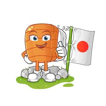 Personagens de desenhos animados de sushi com bandeiras japonesas tradicionais