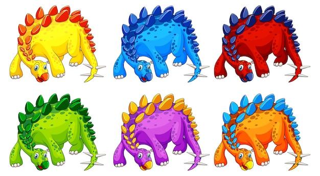Personagens de desenhos animados de um dinossauro estegossauro