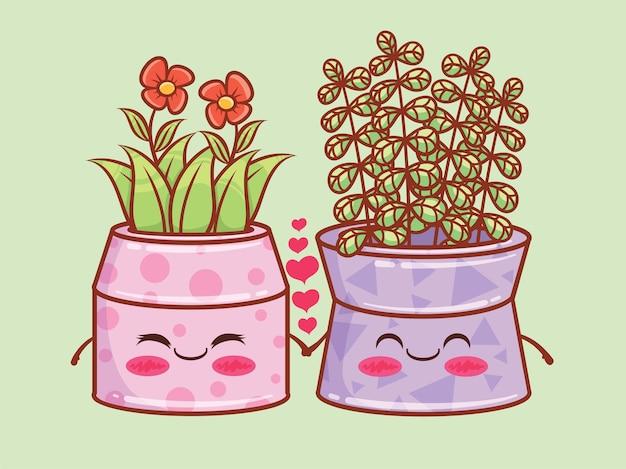 Personagens de desenhos animados de vaso de flores de verão fofo e ilustrações. conceito de casal. Vetor Premium