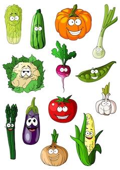 Personagens de desenhos animados de vegetais com tomate, cebola, berinjela, milho, repolho, abóbora