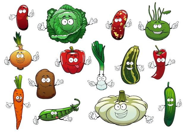 Personagens de desenhos animados de vegetais felizes