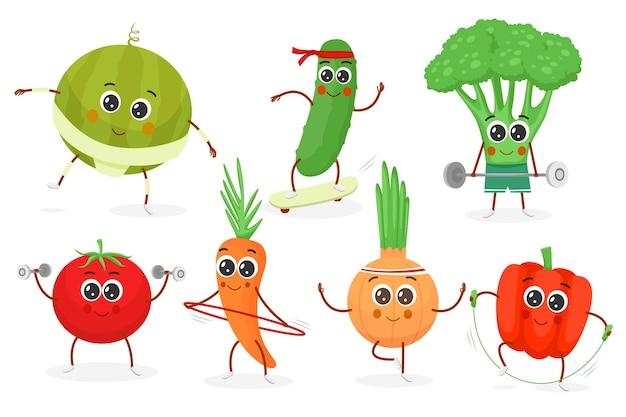 Personagens de desenhos animados de vegetais fitness