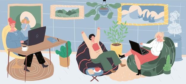 Personagens de desenhos animados de vetor na festa em casa sentado em pufes em uma atmosfera aconchegante.