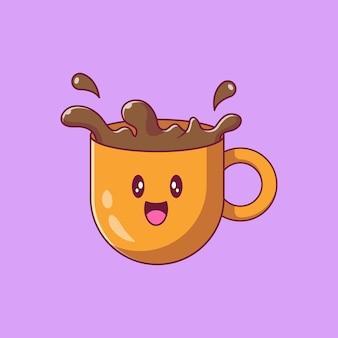 Personagens de desenhos animados de xícara de café fofa.